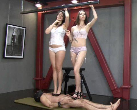 Two Mistress Trampling In High Heels