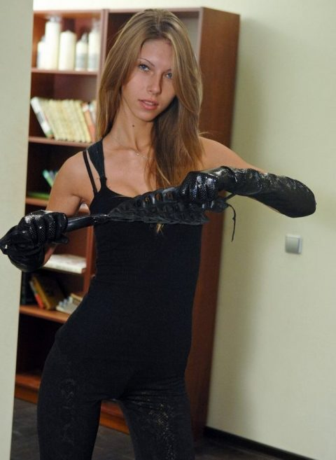 Glam Skinny Mistress In Tight Clothes