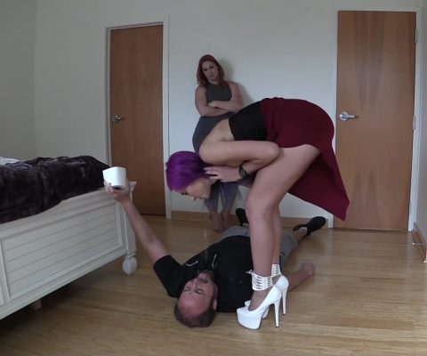 Goddess Amadahy In High Heels Spitting In Toilet Slave's Mouth Before Peeing Inside Him