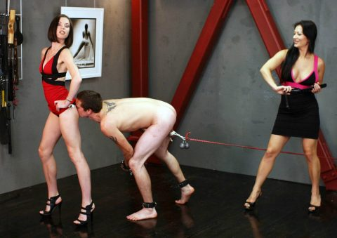 Milf Mistresses Bijou Steal and Jasmine BDSM Playing - Ass Worship CBT and Whip Femdom