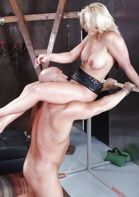 Bald Servant Like a Human Furniture For Mature Mistress - Scissoring Femdom