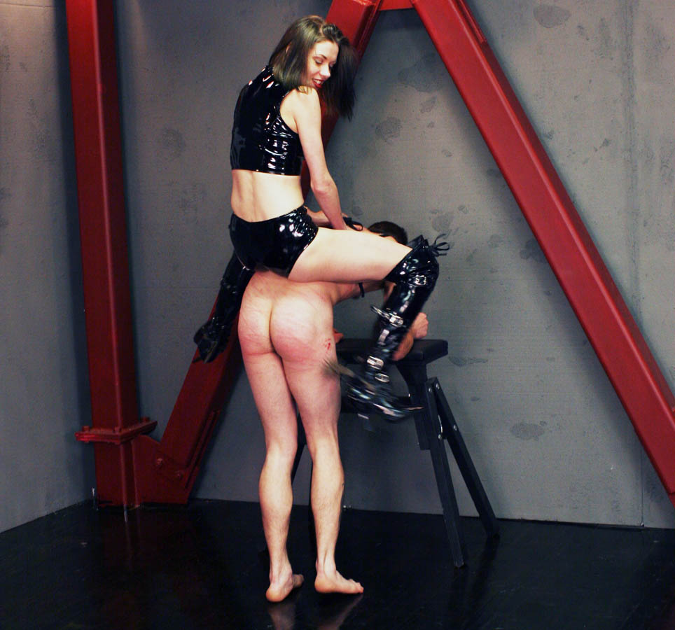 Mistress Bijou Steal In Latex Shorts and Latex Boots - Horse Riding Femdom Pet Train BDSM