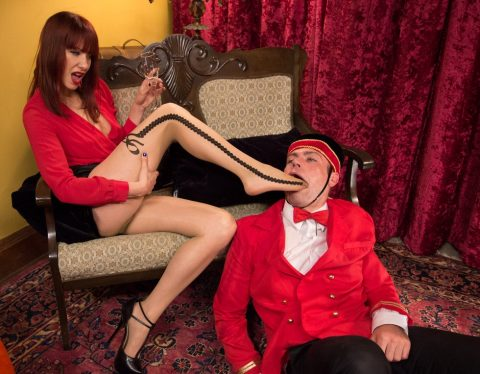 Submissive Concierge Foot Gagging Femdom Humiliatrix With Mistress Madeline Marlowe In Nylon