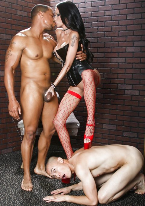 Submissive Cuckold Must Knelt Before Mistress Raven Bay and Her Ebony Lover - Footrest Sissy Slut