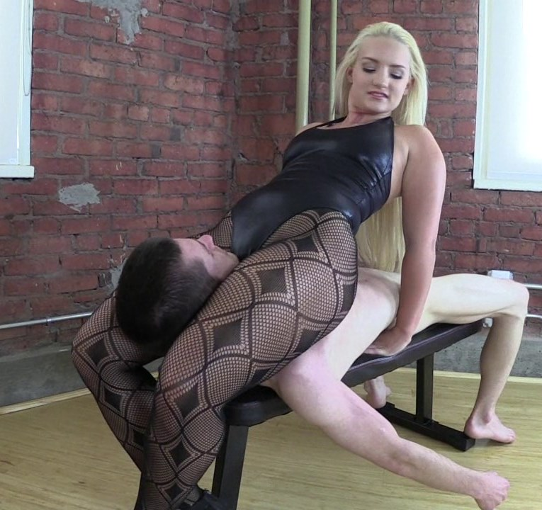 Strong Curvy Mistress In Fishnet Pantyhose and Tight Dress - Scissoring Throatsitting Femdom