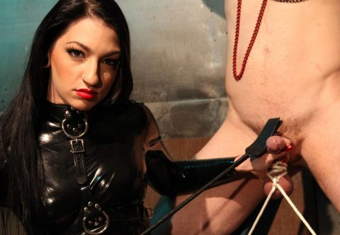 Sadistic Mistress Cybill Troy Cock Whip Torture and Balls Bondage - CBT Kinky Femdom