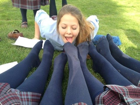 Submissive Schoolgirl Licks Dirty Socks On The Feet Of Her Classmates - Public Group Lezdom