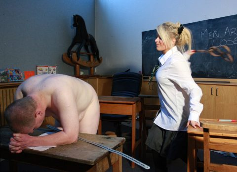 Dominant Schoolgirl Spanking Her Submissive Teacher CFNM