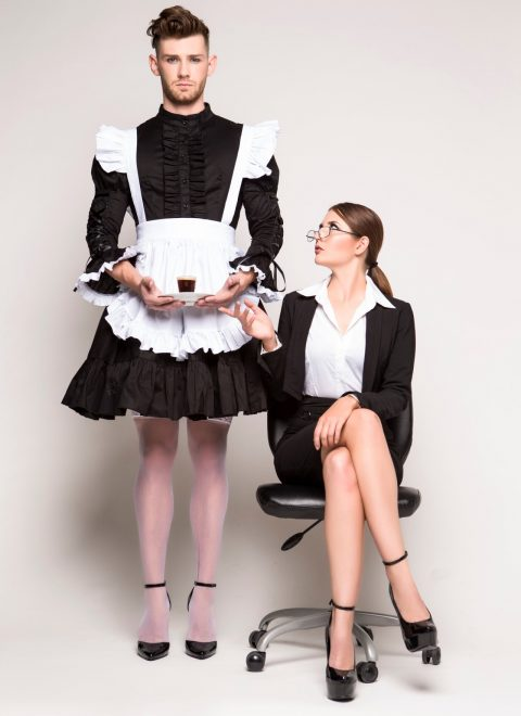 Feminization Femdom With Uniformed Sissy Slave