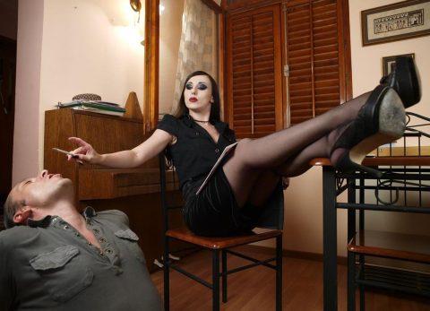 Gothic Mistress Bojana Smokes and Use Submissive Husband's Mouth Like a Human-Ashtray