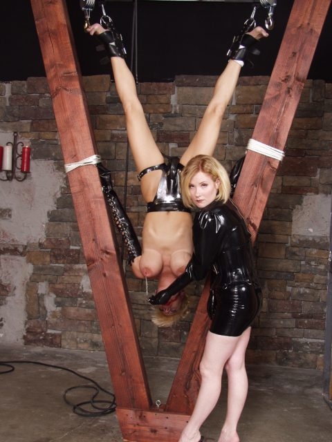 Extreme Inversion Suspended and Tits Torture Lezdom Kinky BDSM