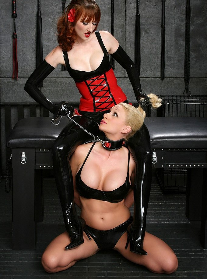 Mistress Kendra James and Her Athletic Lesbians Slave On a Leash