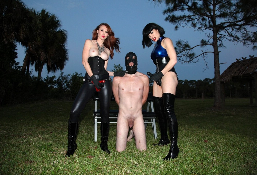 Mistresses Kendra James and  Jean Bardot Prepare To Humiliate Strapon Fuck Slave CFNM Outdoor
