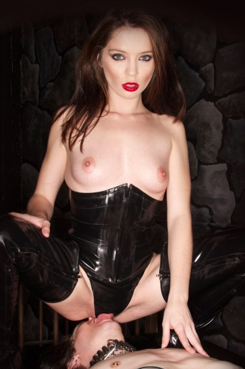 Slave Licks Mistresse's Pussy In Latex Panty