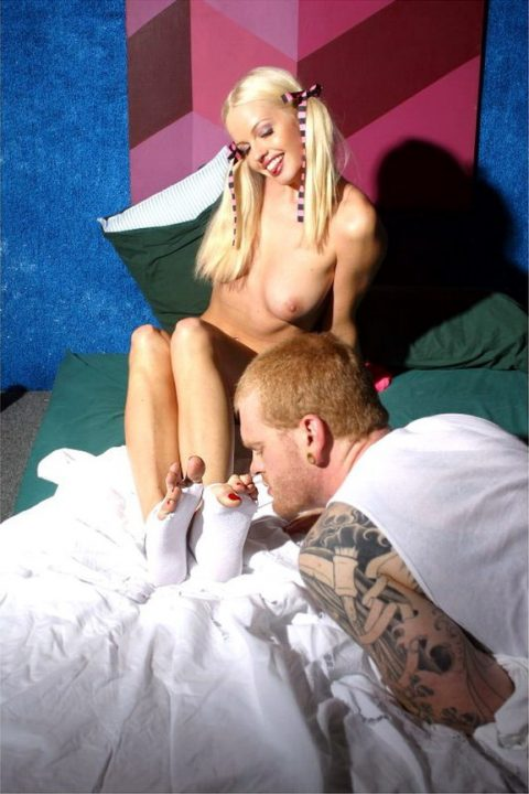Brutal Guy Sniffing Pigtailed Mistress Lorreine Sisco's Feet and Toes With Pedicure
