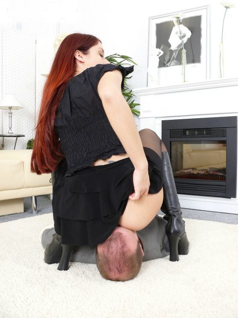 Petite Mistress Luna In Black Skirt and Leather Boots - Facesitting Female Domination