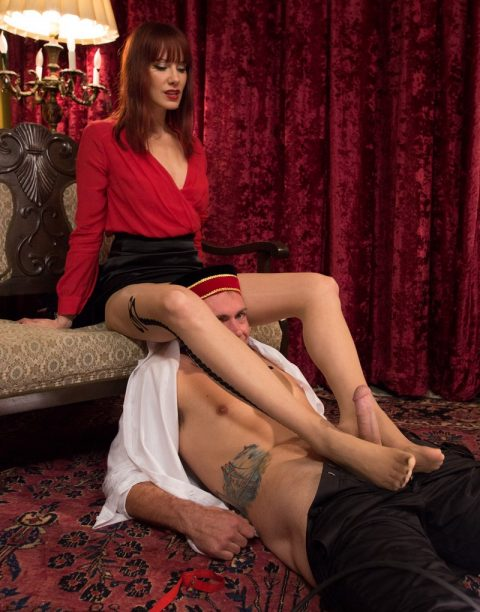Madeline Marlowe In Pantyhose Gives a Footjob To The Concierge