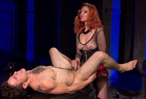 Mistress Madeline Marlowe In Fishnet Body Lingerie - Strapon Fuck and Handjob Femdom