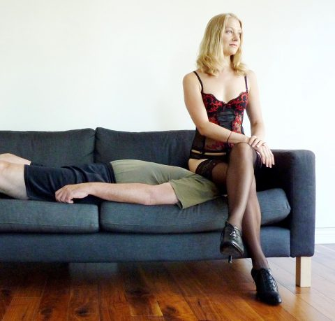 Mature Dominant Wife Yuliya Kate Use Submissive Husband's Face Like a Chair For Long Time Facesitting Femdom