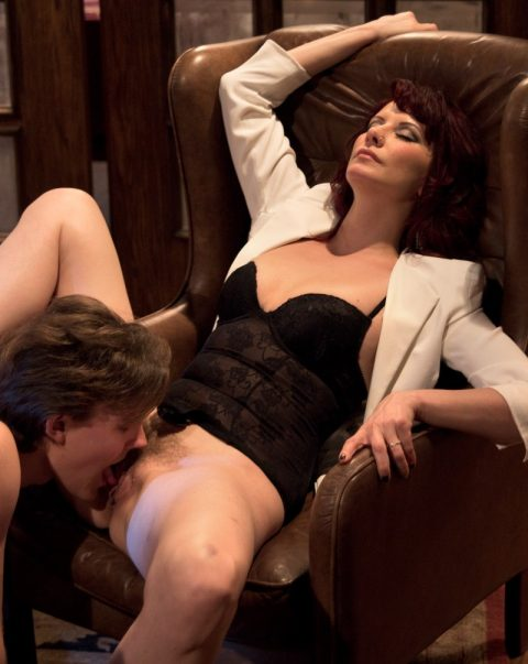 Submissive Boy Licks Milf Mistresse's Hairy Pussy