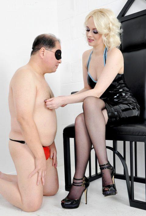 Blonde Mistress Heather In Latex Dress Torture Slave's Nipples