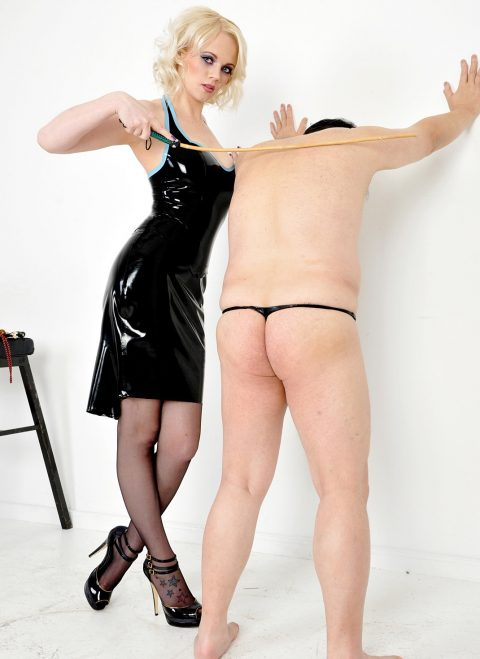 Mistress Heather In Latex Dress Punishment Whipping Her Slave - Caning Femdom