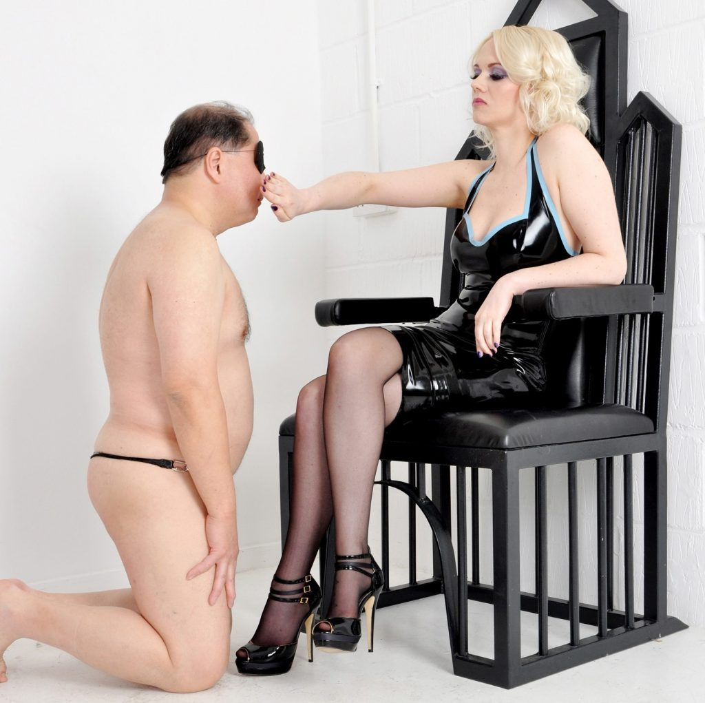 Slave Knelt Before Mistress Heather and She Slaps Her Submissive Slut