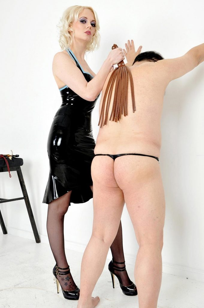 Blonde Mistress Heather In Sexy Latex Dress - Whipping CFNM Female Domination