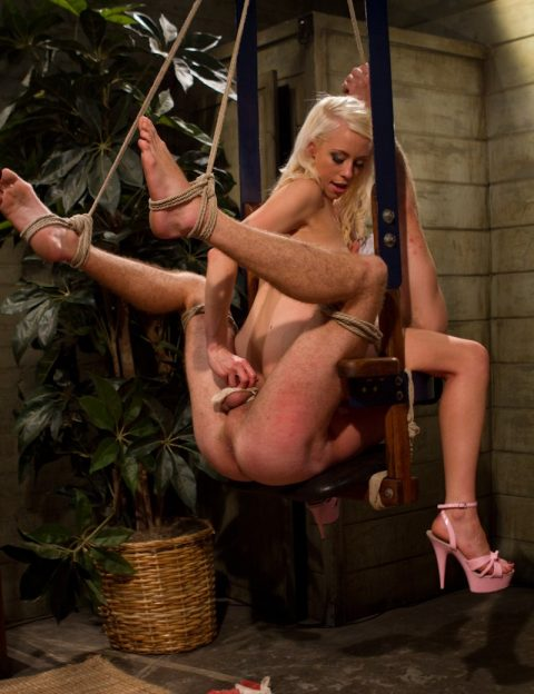 Blonde Mistress Lorelei Lee Kinky Suspended BDSM Handjob and Chest Sitting
