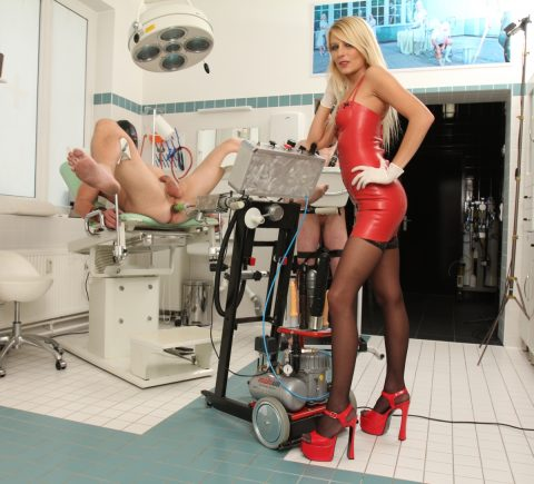 German Mistress Natalie Black In Red Latex Testing New Strapon Fuck Machine For Anal Virginity Slave