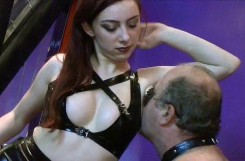 Pervert Older Slave Sniffs and Licks Young Mistress's Sweaty Armpits