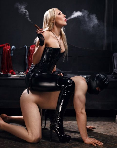 Mistress In Leather Tight Clothes - Pet Play Femdom and Smoking Fetish
