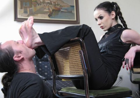 Mistress Bojana's With Pigtails - Heels Sucking and Gagging Femdom Lifestile