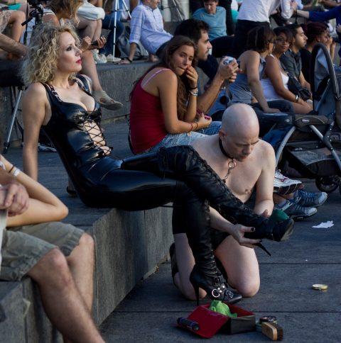 Bald Slave Knelt and Mistresse's Leater Boots Worship - Public CFNM Femdom Humiliation