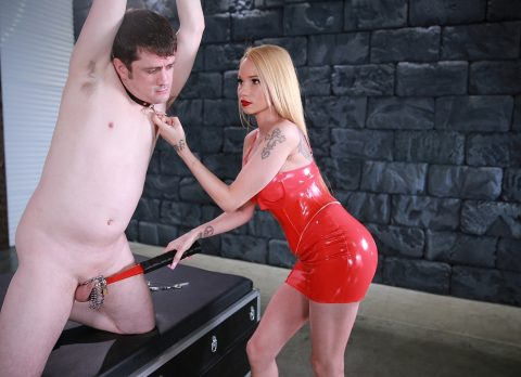 Raven Bay In Red Latex Electric CBT Her Chastity Bondaged Slave