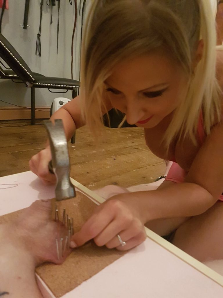 Sadistic Mistress Nails The Slave's balls To The Table - Extreme CBT Torture Close-up