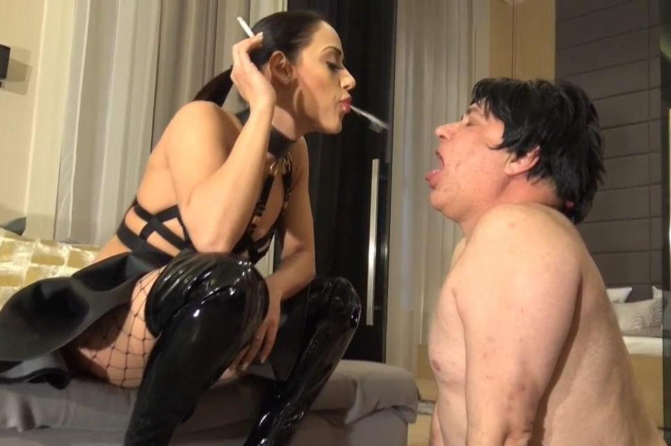 Sexy Milf Mistress In Fetish Clothes Smoke and Spit In Fat Slave's Mouth - Humiliatrix Femdom