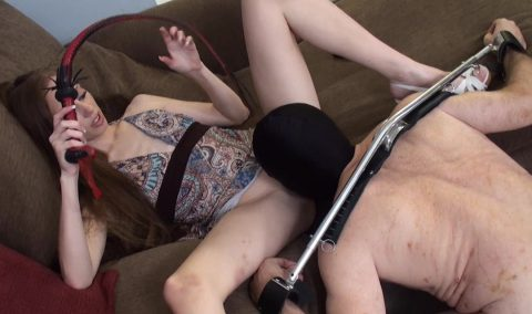 Skinny and Cruel Mistress Ruby Whips On The Back Of a Slave Who Licks Her Pussy Badly