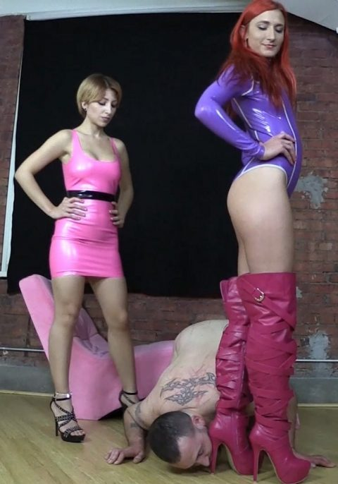 Submissive Servant Guy Licks High Heel With Goddess Amadahy Leather Boots