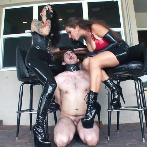 Cybill Troy and Her Friend Domme Uses Human Ashtray Slave For Spitting Femdom
