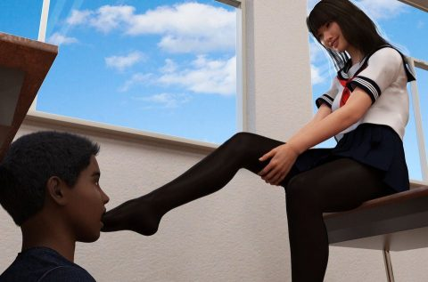 Submissive Boy Must Sucks Dominant Schoolgirl's Toes In Nylon Pantyhose - Femdom ArtSubmissive Boy Must Sucks Dominant Schoolgirl's Toes In Nylon Pantyhose - Femdom Art