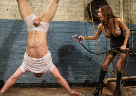 Gia DiMarco Suspend Slave and Cold Water Torture Femdom