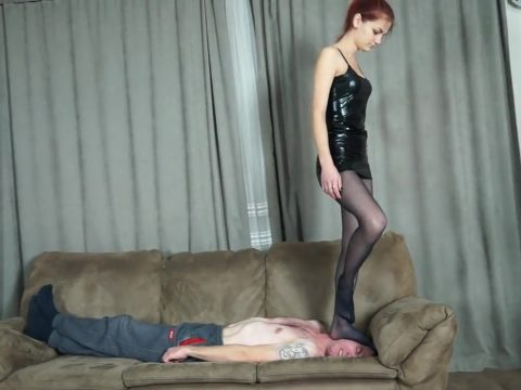 Teen Skinny Mistress Full Weight Destroy Trample One Foot On Older Slave's Head