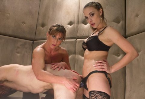 Mistress Chanel Preston and Her Athletic Assistant Domina - Strapon Anal Fuck Submissive Guy