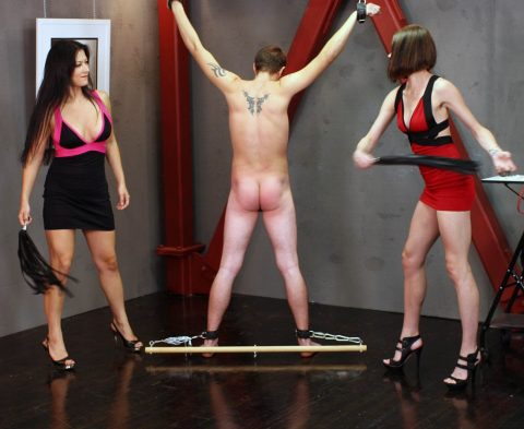 Milf Mistresses Jasmine and Bojou Steal Whipping Crucified and Bound Slave
