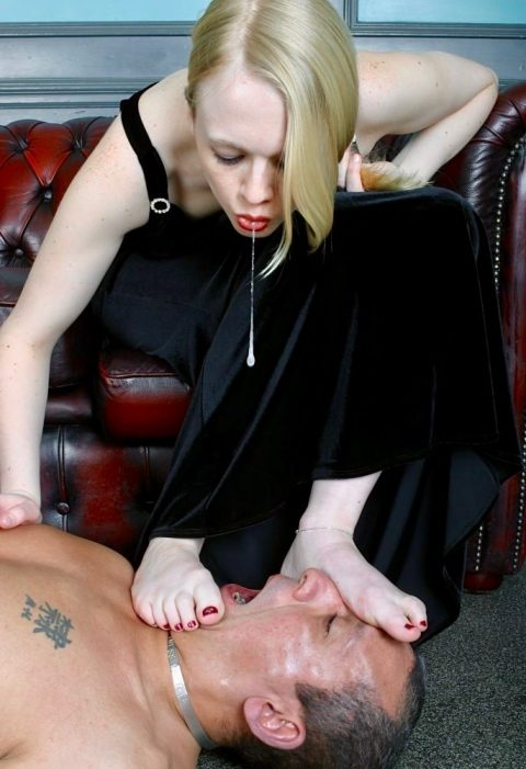 Young Mistress Heather Spitting Female Domination In Older Slave's Mouth