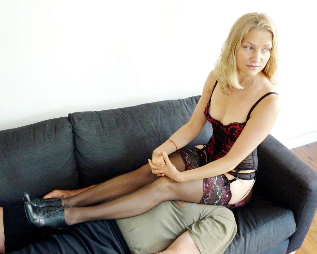 Dominant Wife Yuliya Kate In Lingerie Uses Submissive Husband Like a Chair Slave For Facesitting