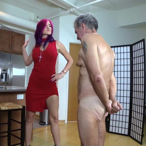 Brutal Goddess Amadahy Hard Slaps Submissive Grandpa - Old and Young Femdom