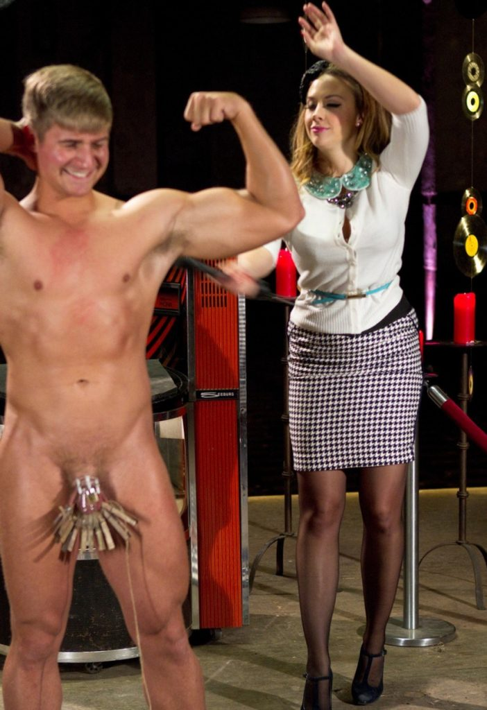 Mistress Chanel Preston Whipping A Chastity Slave With Clothespins On His Balls - CFNM Punishment CBT Femdom