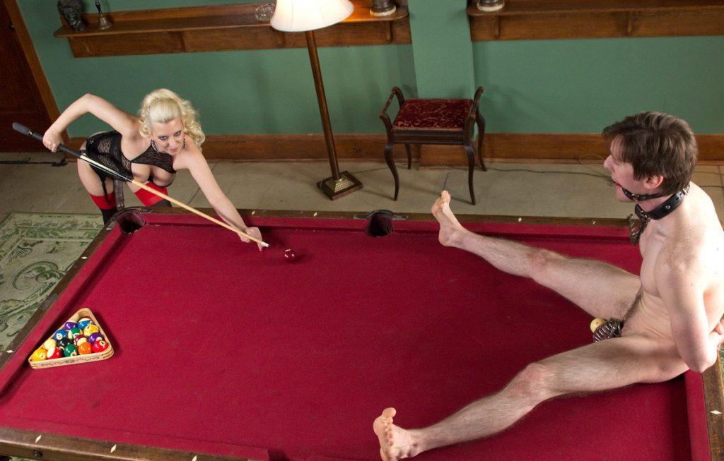 Mistress Cherry Torn Creative CBT Castity - Plays Billiards With Slave's Balls